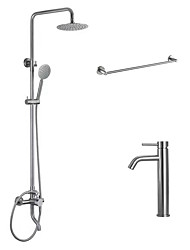 Contemporary Tub And Shower Rain Shower Widespread Handshower Included with  Ceramic Valve  Nickel Brushed Shower Faucet Basin Faucet