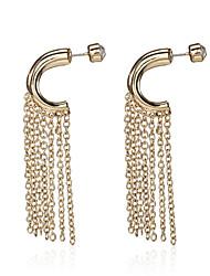 Retro Gold Tone C Hoop with Chain Tassel Fringe Earrings