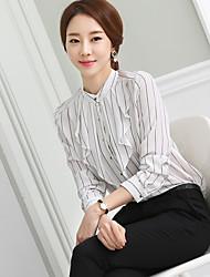 SINAL Coreia do solo de 2016 nova primavera polo fino colarinho chiffon listrado preto e branco de mangas compridas