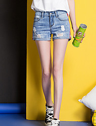 Femme simple Taille Haute Micro-élastique Jeans Short Pantalon,Slim Déchiré Couleur Pleine
