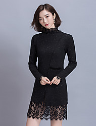 Sign 02017 spring new lace stitching bottoming dress