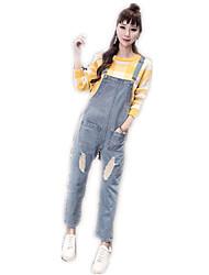 Sign fashion brand personality European leg Korean loose denim overalls female pantyhose