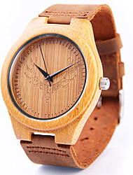 Men's Wrist watch Japanese Quartz Wooden Leather Band Cool Brown