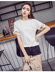 Really making 2017 spring new European leg washed cotton round neck T-shirt hand-beaded blouses hole