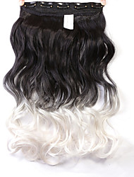 """Neitsi® 1pc 110g 22"""" 3/4 Full Head 5clips Kanekalon Synthetic Braiding Hair Pieces Clip In/on Wavy Extensions T-White#"""