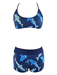 Mulheres Biquíni Animal Nadador Acrílico Elastano Mulheres