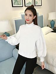 novas mulheres magras&# 39; s Forma do bordado metade colarinho da camisa coreana feminina outono e lazer de inverno casaco cobertura