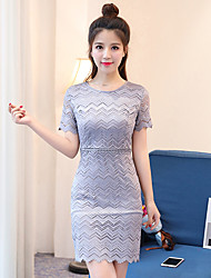 Sign temperament was thin short-sleeved Korean Slim package hip lace dress female summer new women's skirts