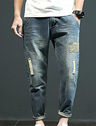 Men's Straight Jeans Pants,Casual/Daily Simple Solid Mid Rise Zipper Cotton Micro-elastic Summer