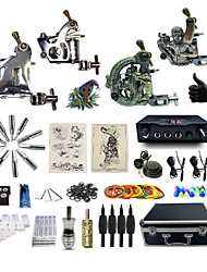 Complete Tattoo Kit 4 Machines G4A5A15Z12Z10 Liner & Shader Dual LED Digital Power Supply