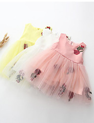 Girl's Casual/Daily Holiday Solid Dress,Cotton Summer Sleeveless