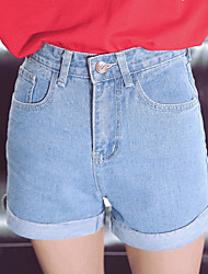 Women's High Rise Micro-elastic Jeans Shorts Pants,Simple Wide Leg Solid