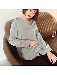 Damen Solide Einfach Ausgehen T-shirt,Tiefes V Langarm Baumwolle