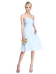 LAN TING BRIDE Knee-length Chiffon Bridesmaid Dress - A-line Sweetheart Plus Size / Petite with Criss Cross / Ruching