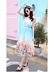 longa seção sinal sem mangas verão de grande tamanho impresso cinto de chiffon colocar em um grande cinto vestido vendido separadamente