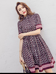 Sign event in ethnic style print shirt collar waist big A word skirt was thin dress retro