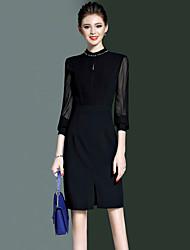 Ladies' Work Slim Thin Elegant Sheath Dress Solid Beaded Crew Neck Knee-length Long Sleeve Pink Black Spring Fall High Rise