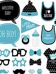 20Piece/Set Baby Shower It's Boy Photo Props  Pearl Paper Eco-friendly Material Wedding Decorations-Spring Summer Fall Winter Non-personalized