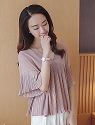 Chemise en mousseline de soie modèle réelle femme 2017 été&# 39; s v-neck t-shirt coréen loose horn sleeve chemise à manches courtes