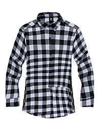 Men's Casual/Daily Simple Shirt,Color Block Check Shirt Collar Long Sleeve Cotton