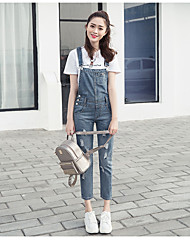 assinar nova primavera perna solta coreanas usam macacão jeans brancos mulher bolso perfurado