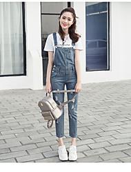 Sign spring new Korean loose leg wear white denim overalls pocket pierced woman