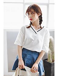 Damen Solide Einfach Urlaub T-shirt,V-Ausschnitt Kurzarm Baumwolle