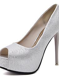 Damen-High Heels-Kleid-PU-Stöckelabsatz-Club-Schuhe-Schwarz Silber