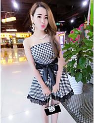 2016 Sommer neue Plaid Kleid sexy BH koreanischen dünnen Taille Ballettröckchen Kleid