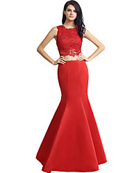Mermaid / Trumpet Jewel Neck Floor Length Satin Formal Evening Dress with Beading Lace