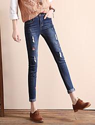 Damen Einfach Hohe Hüfthöhe Micro-elastisch Jeans Skinny Hose einfarbig