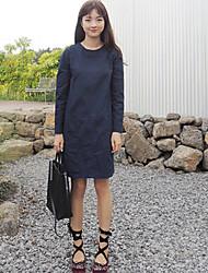 coreano estilo chique em torno do pescoço vestido de mangas compridas com grandes bolsos grande mancha
