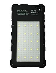 8000mAhbanque de puissance de batterie externe Charge Solaire Sorties Multiples Lampe Torche Imperméable 8000 2000Charge Solaire Sorties