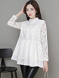 Women's Dailywear Prom School Date Sexy Cute Summer Shirt,Solid Color Stand Long Sleeve N/A Medium