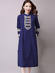 Women's Going out Vintage Loose Dress,Solid Stand Midi ¾ Sleeve Rayon Spring Low Rise Micro-elastic Medium