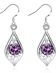 Concise Silver Plated Amethyst Purple Crystal Waterdrop Dangle Earrings for Party Women Jewelry Accessiories