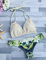 Women's Bandeau Bikini,Floral Polyester