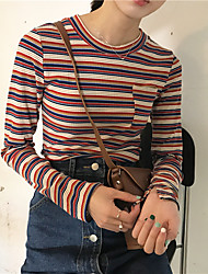 The new spring models hit the color stripes with essential pocket slit sleeves Slim long-sleeved T-shirt tight