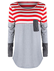 New fashion mixed colors irregular striped long-sleeved T-shirt