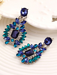 Navy Blue Rhinestone Flower Drop Earrings Jewelry Flower Style Dangling Style Wedding Party Alloy 1 pair Silver Blue