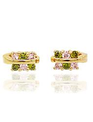 Mulheres Para Meninas Brinco Imitação de Diamante Circular Original Floral Moda Personalizado Hipoalergênico Euramerican Zircão Rosa