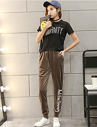 Sign gold velvet spring edition thin section sports pants pants feet harem pants four seasons wear