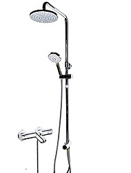 Contemporary Tub And Shower Thermostatic Rain Shower Handshower Included with  Brass Valve Chrome  Shower Faucet