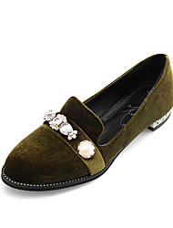 Women's Flats Spring Summer Fall Winter Club Shoes Fleece Office & Career Dress Casual Flat Heel Rhinestone Beading