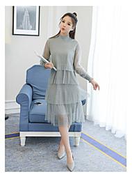 2017 printemps nouvelle tenue à manches longues polka dot net jupe jupe