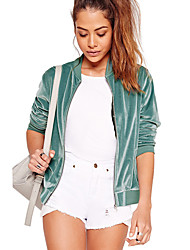 Women's Going out Holiday Sexy Street chic Spring Fall Trench Coat,Solid Stand Long Sleeve Regular Polyester Tassel