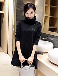 Damen Solide Sexy Einfach Ausgehen Lässig/Alltäglich T-shirt,Rollkragen Herbst Winter Langarm Baumwolle Mittel