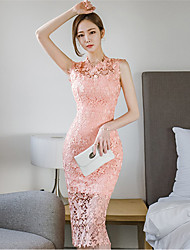 Dentelle Robe Femme SortieCouleur Pleine Broderie Col Arrondi Midi Sans Manches Polyester Printemps Eté Taille Haute Non Elastique Fin