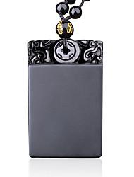 Damen Anhängerketten Obsidian Quadatische Form Krystall Quadrat Religiös Einstellbar Hip-Hop Rock Modisch Punkstil Schwarz Schmuck Für