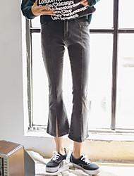 assinar na Primavera de 2017 nova versão coreana foi cintura fina queimado ligeiramente calças slim calças de pernas largas divisão